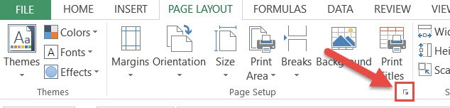 Click on the Page Layout dialog box launcher