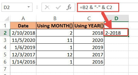 Combine and create the date using ampersand