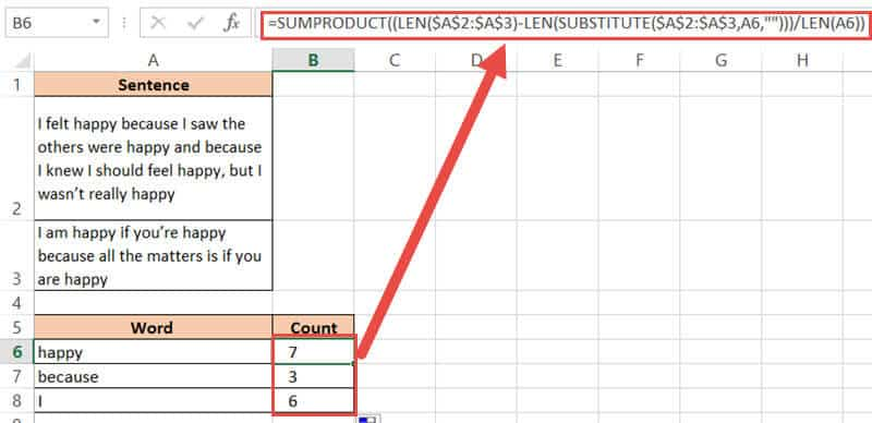 Copy and drag SUMPRODUCT formula for all cells