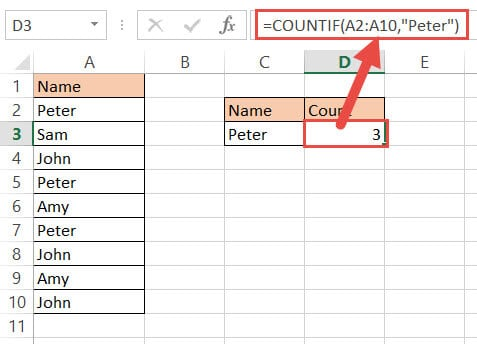 Countif funftion to count names