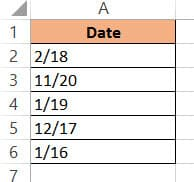 Date formatted as required