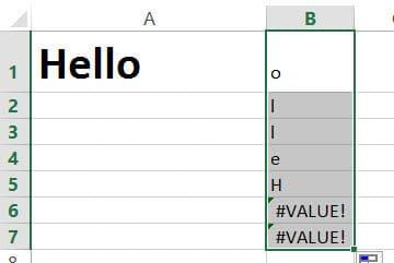 Drag the formula till you get the value error