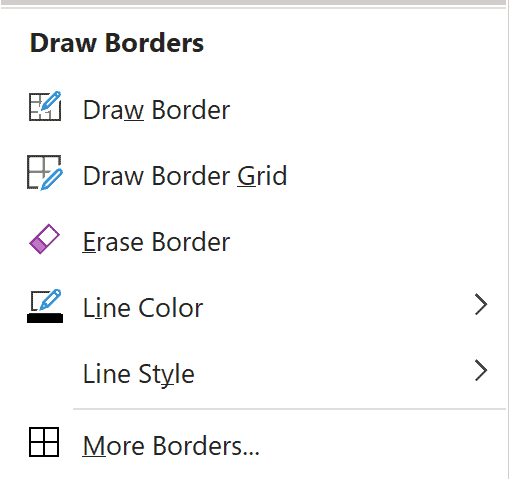 Draw Borders Option