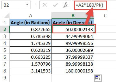 Formula to calculate degrees from radians