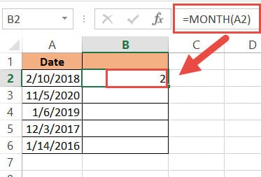 Getting the month number from the date using the MONTH function