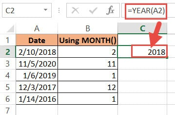 Getting the year number from the date using the YEAR function