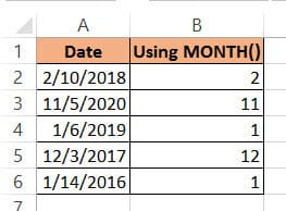 MONTH function result