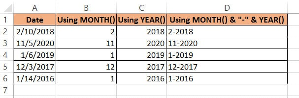 Month and year separated by dashonth and year separated by dash