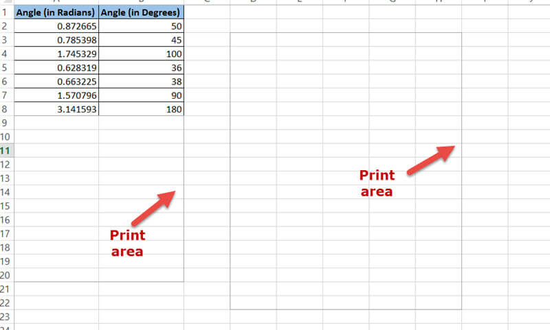 Print area in the worksheet
