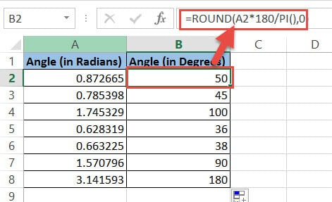 Round up the degrees formula result using Pi
