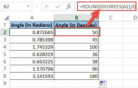 Round up the degrees formula result