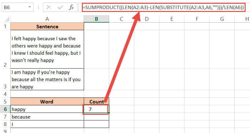 SUMPRODUCT formula to count words