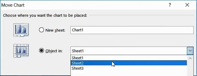 Select the sheet in the move chart dialog box