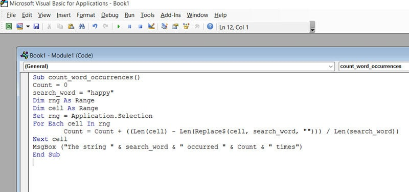 VBA code to count how many times a word appears