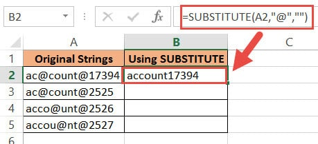 remove all @ using substitute