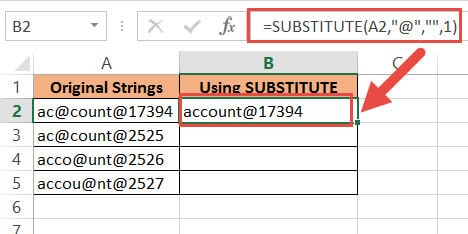 substitute function to remove a character from a text string