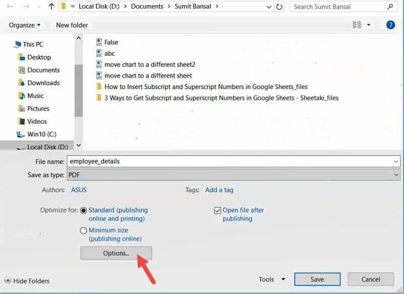 Click on the options button in the save as dialog box