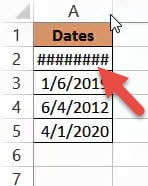 Column width too small - dates shown as hashtags