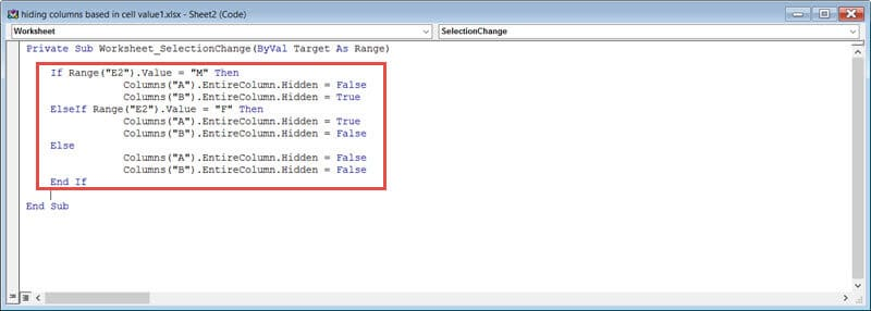 Copy paste the macro to hide column in real time