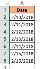 Dataset to Convert Date to Day of Week in Excel