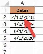 Dates show up after expanding column