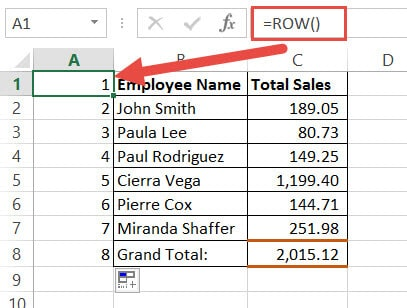 Enter the row number in the first cell of the helper column