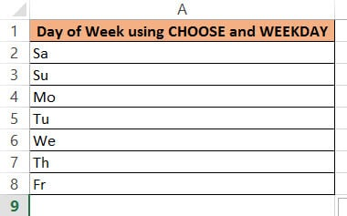 Getting day of the week using choose and weekday - 2 letter