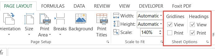 Gridlines and headings in Sheet options