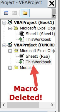 Project explorer - macro deleted