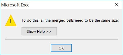 Prompt - merge cells need to be of the same size