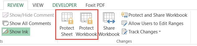 Protect sheet or workbook
