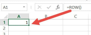 ROW function to get the row number