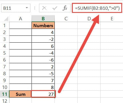 SUMIF formula to add only positive numbers