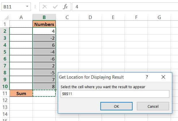 Select the cell where you need the sum