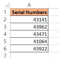 Serial numbers dataset