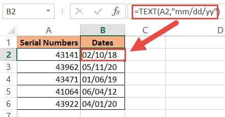 TEXT function to change serial number to date