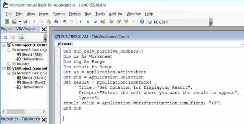 VBA code copied in the VB Editor