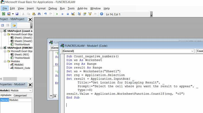 VBA code in the project explorer