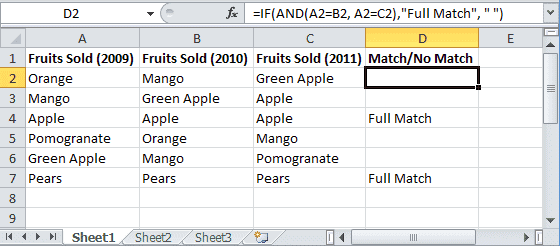 Excel-compare-two-columns