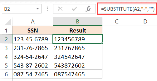 Substitute-formula-to-remove-dashes-hyphens-in-Excel