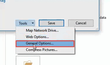 Click on General options