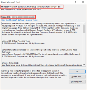 About Microsoft Excel dialog box