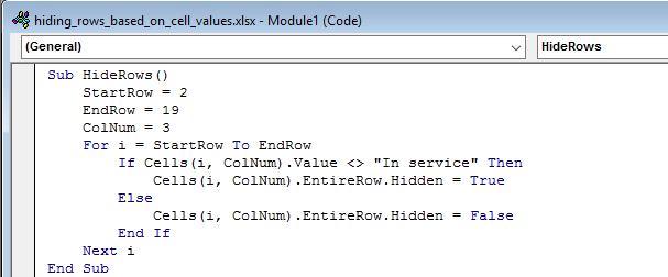 Copy and Paste the VBA code