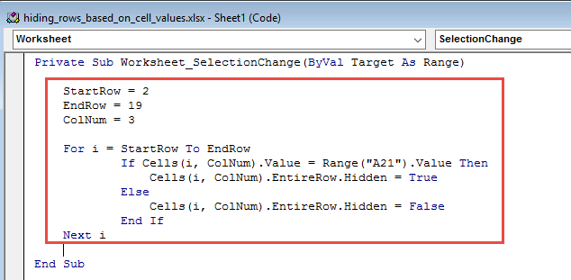 Copy and paste the worksheet event change code