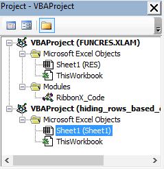 Project explorer in Excel VBA