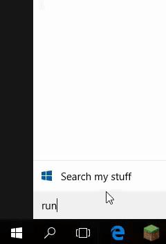 Type run in windows search bar