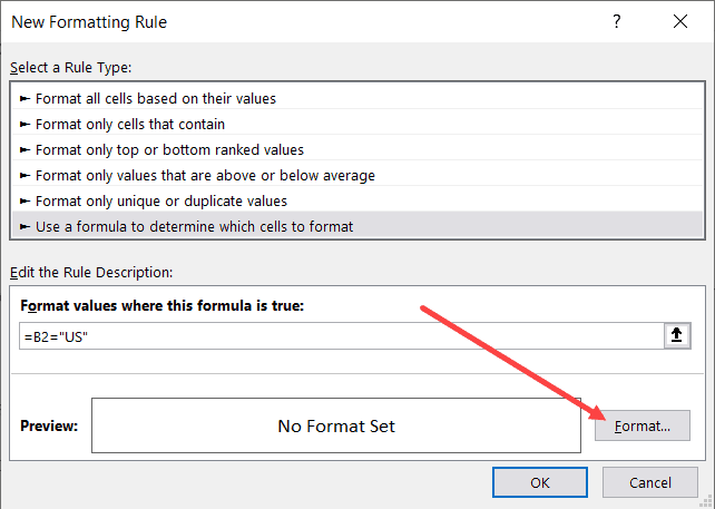 Click on the Format button