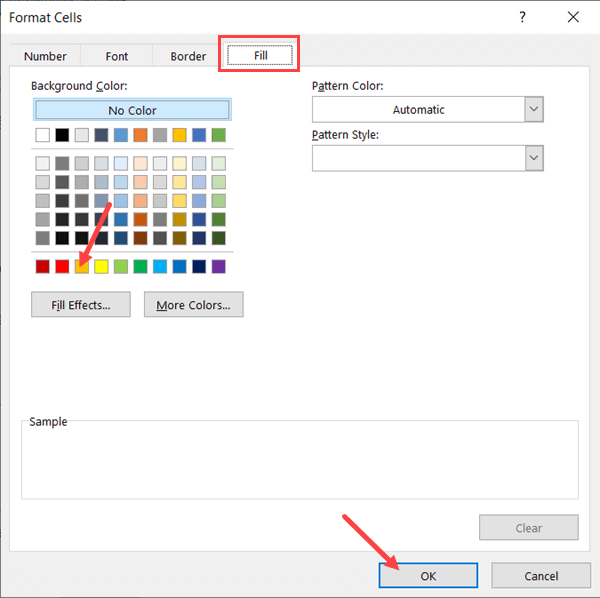 Select the color with which you want to fill the cell