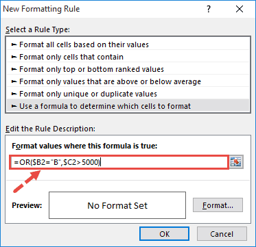 Enter the OR formula