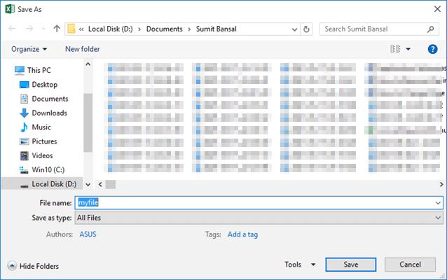 Dialog boz that allows entering file name